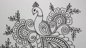 Peacock Design Pictures How To Draw Peacock With Beautiful Feather Design Pen Art