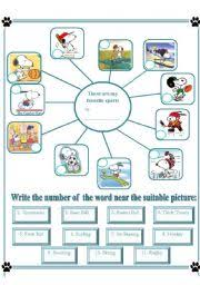 english teaching worksheets sports english worksheets my favorite sports b w and key included