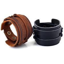 matching snaps leather cuff bracelet blanks black brown punk thick wide strap wristband for mens womens adjule jewelry gifts whole bracelet gold