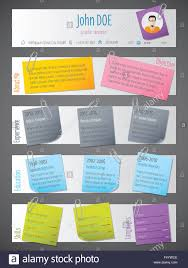 Modern Resume Cv Curriculum Vitae Template Design With Post Its