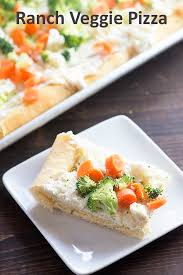 veggie pizza recipe on white plate