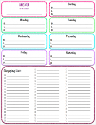 Weekly Meal Planner With Grocery List Others Menu And Template ...