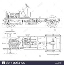 vintage car engine diagram stock photos vintage car engine diagram of four cylinder petrol engine car chassis cardan shaft drive stock image