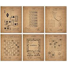 board games patent wall art prints set of six vintage family board games photos on poster board wall art with board game wall posters amazon