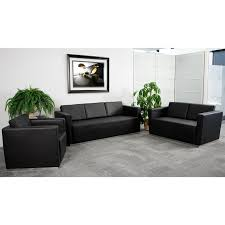 chancellor jade black leather sofa set