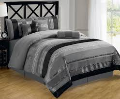 piece contemporary metallic silver gray black chenille comforter