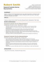 customer service representative resumes seasonal customer service representative resume samples