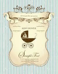 baby shower vine carton d invitation avec un élégant design fl abstrait rétro orné feuilles brunes sur zéro texturé rayé fond bleu clair avec