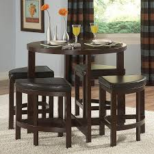 homelegance brussel brown cherry 5 piece dining set with round counter height table