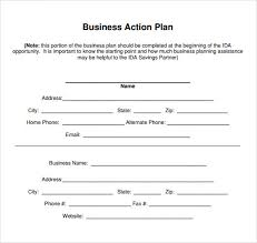 Sample Business Plans Templates Sample Business Action Plan 9 Documents In Word Pdf