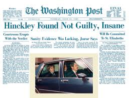 Image result for Hinckley's defense worked as he was found not guilty on June 21, 1982