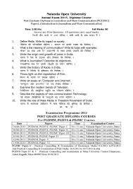 nalanda open university post graduate diploma in journalism and  nalanda open university post graduate diploma in journalism and mass communication paper i 2013 question paper pdf