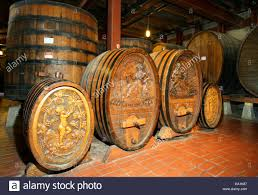 Napa County historic oak wine barrels in Beringer winery of Napa