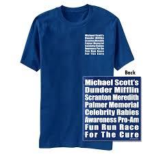 the office merchandise. the office fun run royal blue graphic tshirt merchandise a