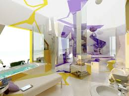 Purple Yellow White Bathroom Layout Idea Interior Design Ideas - Yellow and white bathroom