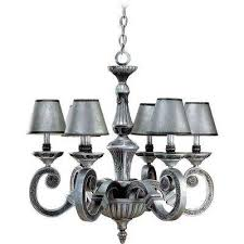 6 light antique silver and hammered iron chandelier