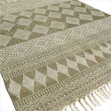 green cotton block print accent area boho dhurrie rug hand woven flat weave 3 x 5 4 x 6 ft