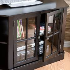 corner tv stand with double framed glass cabinet doors for bookedia entertainment storage