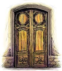 elements of architecture front door background hand drawn old wooden door vector ilration stock vector colourbox