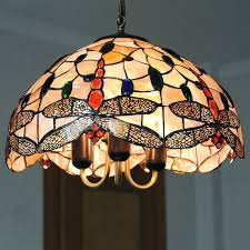 old stained glass hanging light chandelier lighting lampe vintage living room dragonfly pattern lamp