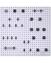 White peg boards Mdf White Steel Square Hole Pegboards With Lochook Assortment 30 Better Homes And Gardens Dont Miss This Deal Locboard Wall System Square Hole Pegboard And