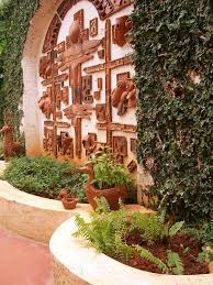 rustic chic wall art landscape indian with potted plants seat wall