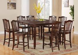 Tall Square Kitchen Table Set 5pc Square Counter Height Dining Room Table Set 4 Stools In Mahogany