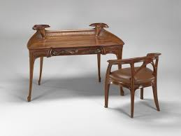 jacques gruber 1870 1936 writing desk chair carved gany with