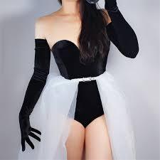 Velvet <b>Gloves 70cm</b> Extra Long Black Opera <b>Female</b> High Elastic ...