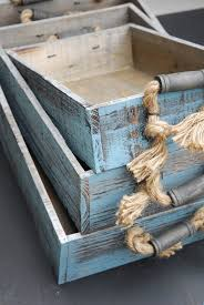 Wooden Crate With Handles Wood Trays With Rope Handles