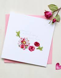 Flowers Mothers Day Card Hand Embroidered Design