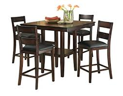 standard furniture pendleton counter height table and four chairs set dark cherry brown