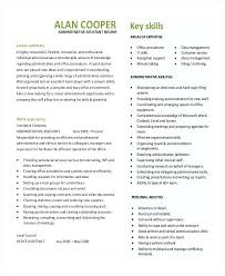Cv Examples Administration Executive Assistant Resume Skills Examples Office Format