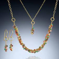 multi gemstone chandelier pendant necklace