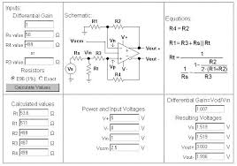 fully diffeial amplifier component calculator