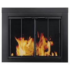 pleasant hearth ascot small glass fireplace doors at 1000 the home depot
