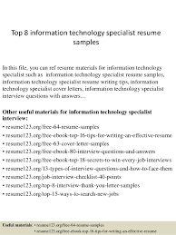 Top 8 information technology specialist resume samples In this file, you  can ref resume materials ...