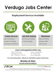 city of glendale ca verdugo jobs center vjc flyer