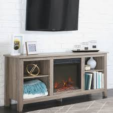 walker edison tv stand with fireplace insert for tvs up to 49