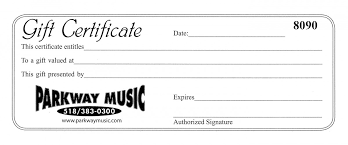Gift Certificate Parkway Music