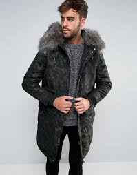 river island parka with fur lining and detachable trim in camo green men coats river