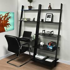 leaning shelf bookcase with computer desk office furniture home desk wood black office desks