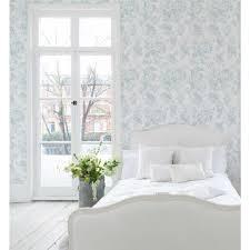 Paris Bedroom Wallpaper Paris Rose Blue Wallpaper Cabbages Roses