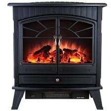 freestanding electric fireplace stove heater in black with vintage glass door