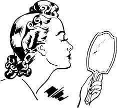 hand mirror drawing. lady with hand mirror drawing