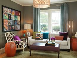 Living room contemporary decorating ideas with fine decorated living room  having colorful sofa sets double windows