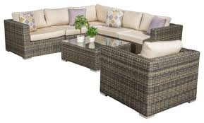 henderson outdoor wicker seating sectional with sunbrella cushions 7 piece set