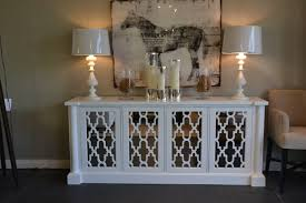 white media console furniture. White Mirrored Media Console With Big Frame Candles And Double Lamps Furniture O