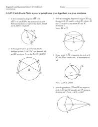 Circle Proofs Worksheet for 10th Grade | Lesson Planet