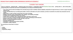 Production Planner Work Experience Certificate   Experience Letters ...